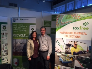 Lisa Nixon (AgSafe) with Tim Sheldon-Collins (Toxfree) at the Landfill & Transfer Station Conference.